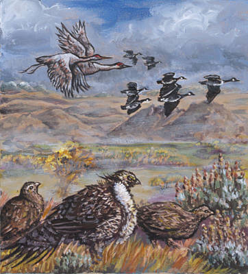 Painting - Sage Grouse Watch The Migration by Dawn Senior-Trask