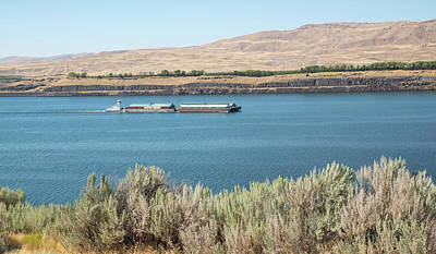 Photograph - Sagebrush And Barges by Tom Cochran