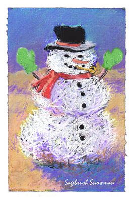 Pastel - Sagebrush Snowman With Green Mittens by Mary Helmreich