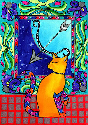 Painting - Sagittarius Cat Zodiac by Dora Hathazi Mendes