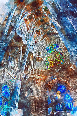 Painting - Sagrada Familia - 21 by Andrea Mazzocchetti
