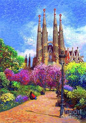 Cathedral Painting - Sagrada Familia And Park,barcelona by Jane Small