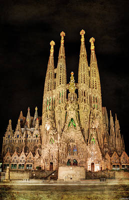 Photograph - Sagrada Familia At Night - Gaudi by Weston Westmoreland