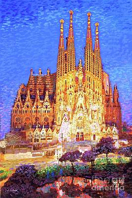 Best Sellers - Landmarks Painting Royalty Free Images - Sagrada Familia at Night Royalty-Free Image by Jane Small