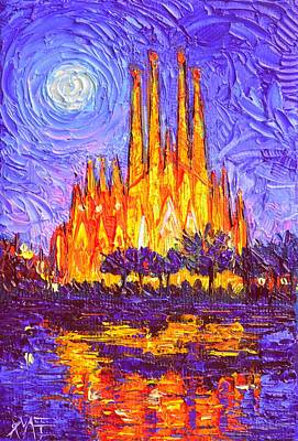 Painting - Sagrada Familia In Moon Light Modern Impressionism Impasto Knife Oil Painting By Ana Maria Edulescu by Ana Maria Edulescu