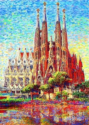 Best Sellers - Landmarks Painting Royalty Free Images - Sagrada Familia Royalty-Free Image by Jane Small