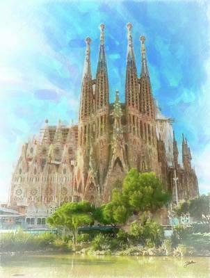 Barcelona Drawing - Sagrada Familia by Joaquin Abella
