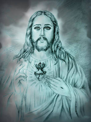 Drawing - Sagrado Corazon De Jesus by Edgar Torres