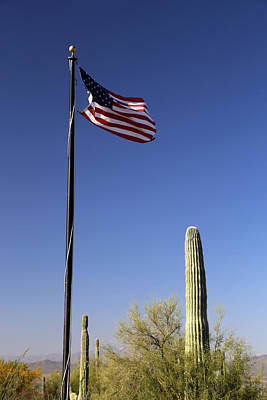 Photograph - Saguaro And Flag by Mary Bedy