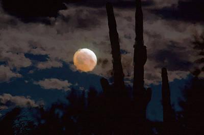 Sonora Desert Painting - Saguaro Blood Moon IIi by Carolina Liechtenstein