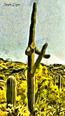 Specimen Digital Art - Saguaro Cactus - Da by Leonardo Digenio