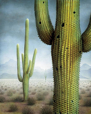 Painting - Saguaro Cactus Landscape by James Larkin