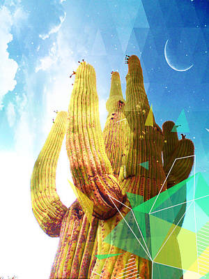 Sonora Mixed Media - Saguaro Day And Night by MB Dallocchio