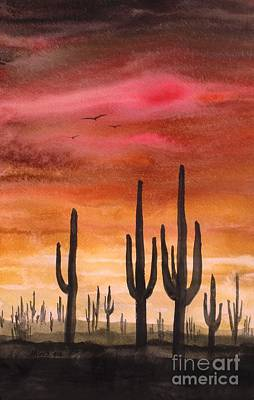 Wa Painting - Saguaro, Gouache Painting by David K Myers