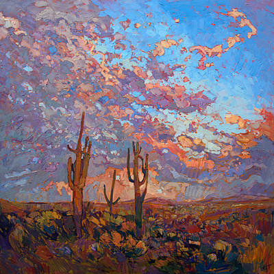 Dramatic Colors Painting - Saguaro Light by Erin Hanson