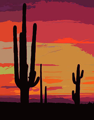 Painting - Saguaro National Park At Sunset - 2  by Andrea Mazzocchetti
