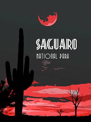 Amber Desert Painting - Saguaro National Park At Sunset by Andrea Mazzocchetti