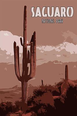 Amber Desert Painting - Saguaro National Park Panorama by Andrea Mazzocchetti