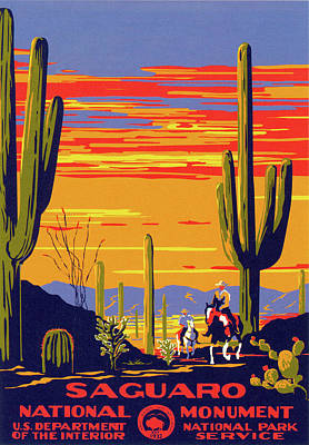 Grand Canyon Drawing - Saguaro National Park Vintage Travel Poster by Ipa