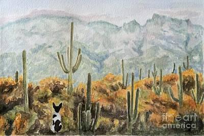 Rat Terrier Painting - Saguaro Sunrise by Amanda Hall