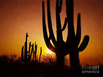 Photograph - Saguaro Sunrise Mcdowell Sonoran Preserve by Marianne Jensen