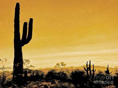 Desert Sunset Digital Art - Saguaro Sunset 2 by Tim Richards