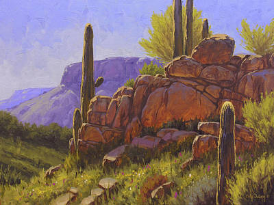 Arizona Desert Painting - Saguaro Sunshine by Cody DeLong
