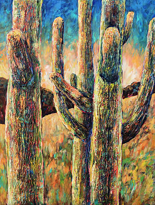 Painting - Saguaros In Rhapsody by Sally Quillin