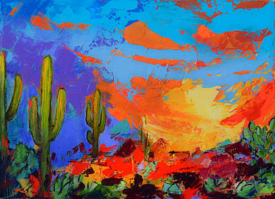 Landmarks Painting Royalty Free Images - Saguaros Land Sunset Royalty-Free Image by Elise Palmigiani