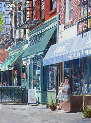 Urban Store Painting - Sahadis Atlantic Avenue Brooklyn by Anthony Butera