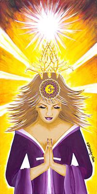 Painting - Sahasrara Crown Chakra Goddess by Divinity MonSun Chan