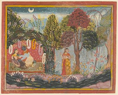 Sahibdin    Krishna And Radha In A Bower  Page From A Dispersed Gita Govinda Art Print