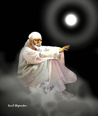 Sai Baba Painting - Sai Aashish by Sunil Shegaonkar