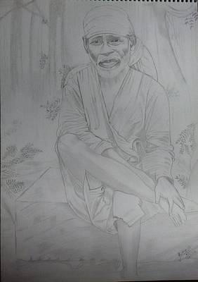 Devotional Drawing - Sai Baba by Abhishek Gothania