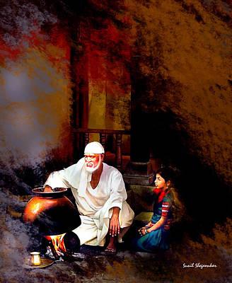 Sai Painting - Sai Cooks Food by Sunil Shegaonkar