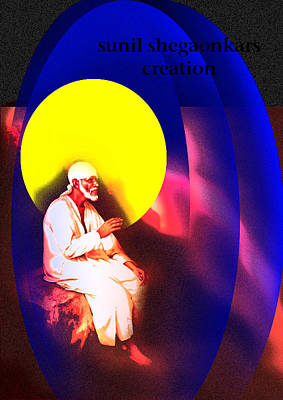 Saibaba Wallpapers Painting - Sai On Stone by Sunil Shegaonkar