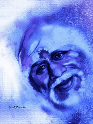 Sai Painting - Sai Smile 2 Painted By Sunil Shegaonkar by Saibaba Shirdi