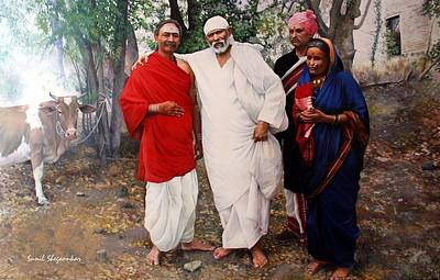 Sai Baba Painting - Sai With Baijabai And Mhalsapati by Sunil Shegaonkar