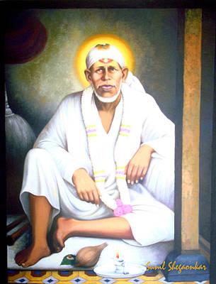 Sai Painting - Saibaba In Dwarkamai by Sunil  Shegaonkar