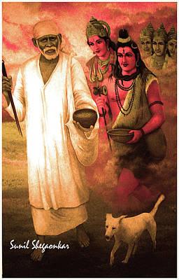 Sai Painting - Saibaba With Bramha Vishnu Mahesh By Sunil Shegaonkar by Sunil Shegaonkar