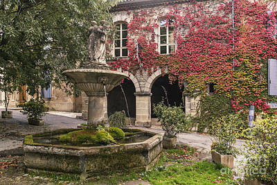 Photograph - Saignon Fountain Provence  by Juergen Held