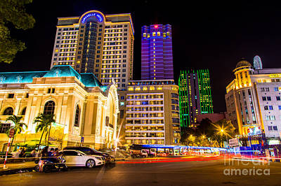 Photograph - Saigon's Opera House And Saigons Night Life by Rene Triay Photography