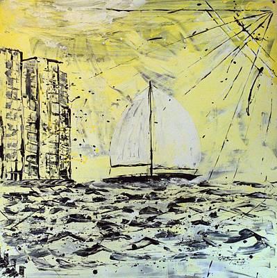 Sail And Sunrays Art Print by J R Seymour