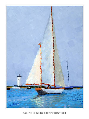 Painting - Sail At Dusk Poster by Glenn Tunstull