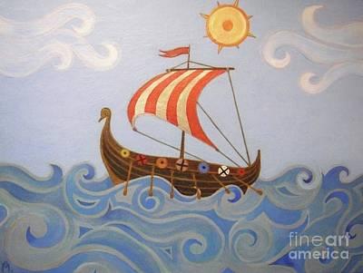 Sail Away - Vikings Boat Original by Melina Mel P