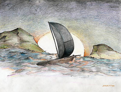 Drawing - Sail Away by Justin Hiatt