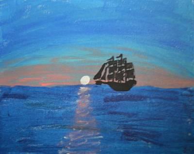 Sailing At Night Painting - Sail Away by Morgan McLaren