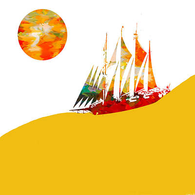 Tourism Digital Art - Sail Boat Abstract by Art Spectrum