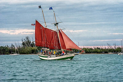 Photograph - Sail Boat At Key West Florida Sunset Dsc01442_16 by Greg Kluempers