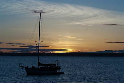 Photograph - Sail Boat At Sunset by Devon LeBoutillier